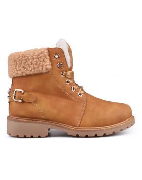 Кафяви дамски ежедневни боти с топъл хастар 0132416 в online магазин Fashionzona