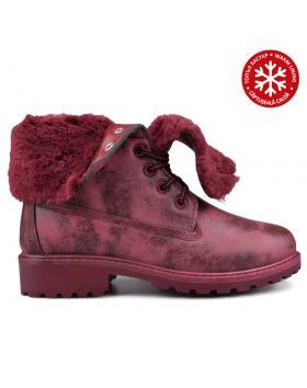 Червени дамски ежедневни боти с топъл хастар 0131504 в online магазин Fashionzona