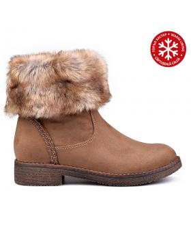Дамски ежедневни боти кафяви с топъл хастар 0131860 в online магазин Fashionzona