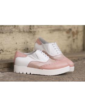 Дамски ежедневни обувки бял цвят и пудра 1050 в online магазин Fashionzona