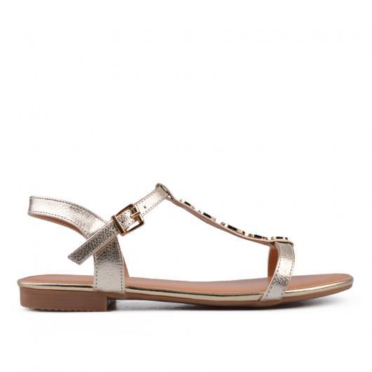 Златисти дамски ежедневни сандали Krystal