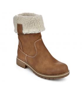 Кафяви дамски ежедневни боти с топъл хастар 0135661 в online магазин Fashionzona