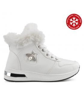 Бели дамски ежедневни боти с топъл хастар Williamina в online магазин Fashionzona
