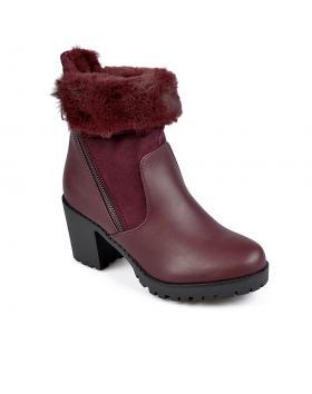 Червени дамски елегантни боти с топъл хастар 0135261 Summer в online магазин Fashionzona