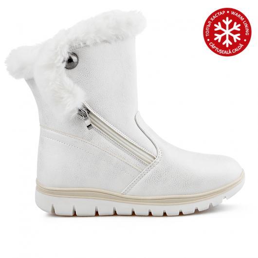 Бели дамски ежедневни боти с топъл хастар 0136051 Marcellia