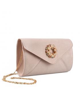 Бежова дамска елегантна чанта Monica в online магазин Fashionzona
