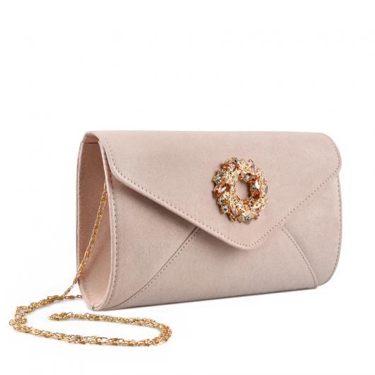 Бежова дамска елегантна чанта 0136749 Monica