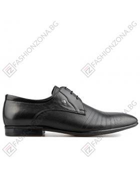 Черни мъжки елегантни обувки Lonza в online магазин Fashionzona