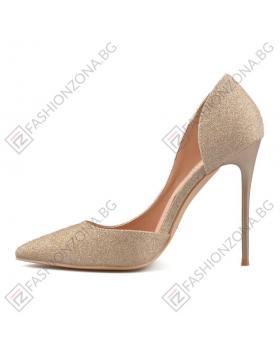 Златисти дамски елегантни обувки Nicanora в online магазин Fashionzona