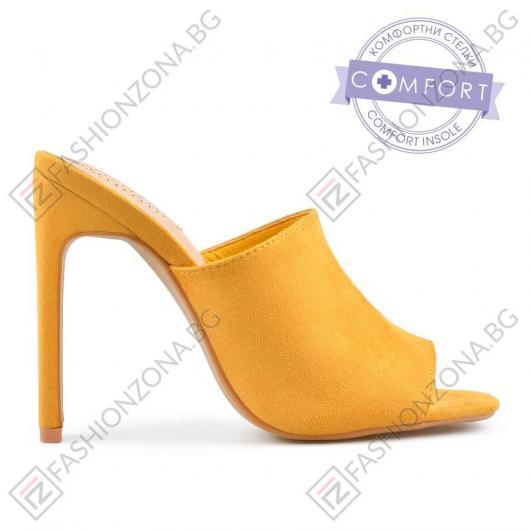 Жълти дамски елегантни чехли Alisanne