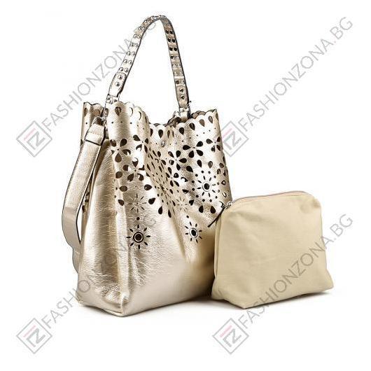 Златиста дамска ежедневна чанта Raegan