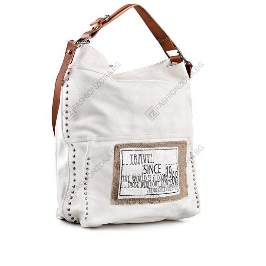 Бяла дамска ежедневна чанта Lillianna