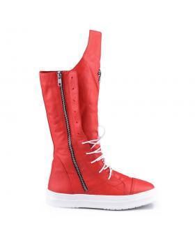 Червени дамски ежедневни ботуши с топъл хастар 0126707 в online магазин Fashionzona