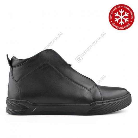 Черни мъжки ежедневни боти с топъл хастар Lesley Cuartio