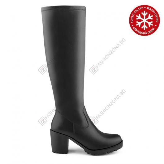 Черни дамски ежедневни ботуши с топъл хастар Susanne