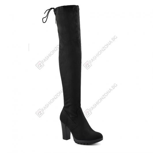 Черни дамски елегантни ботуши Aba