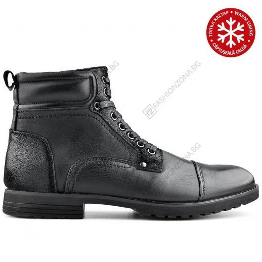 Черни мъжки ежедневни боти с топъл хастар Cristian