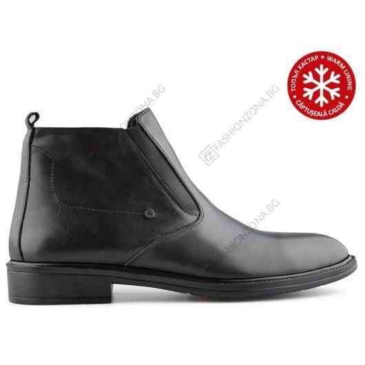 Черни мъжки елегантни боти с топъл хастар Alvino