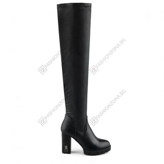 Черни дамски елегантни ботуши Alvaro