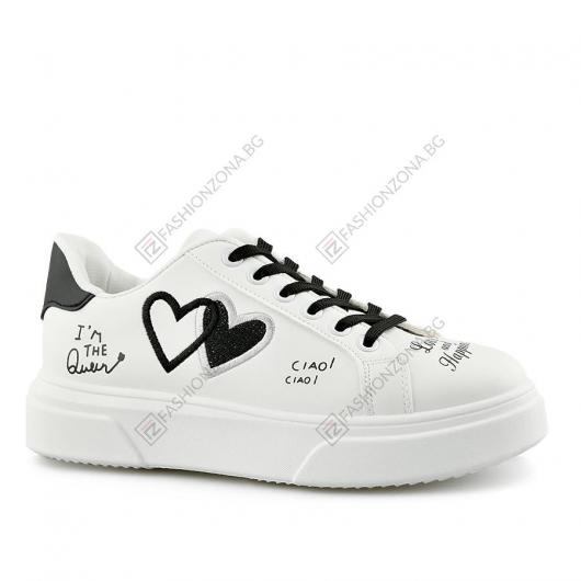 Бели дамски ежедневни обувки Jade
