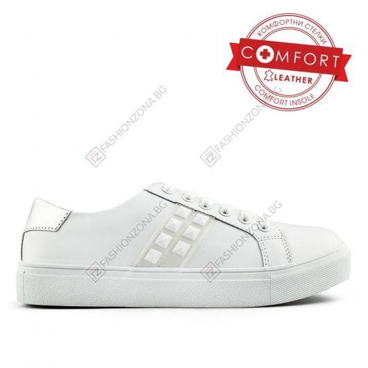 Бели дамски ежедневни обувки Dacio