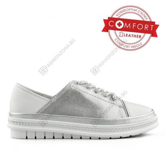 Сребристи дамски ежедневни обувки Raffaello