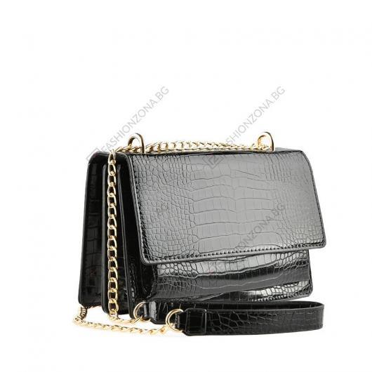 Черна дамска ежедневна чанта Flora