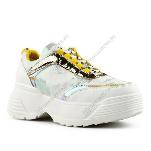 Бели дамски ежедневни обувки Laura