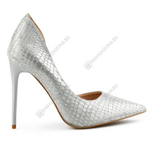 Сребристи дамски елегантни обувки Antonietta
