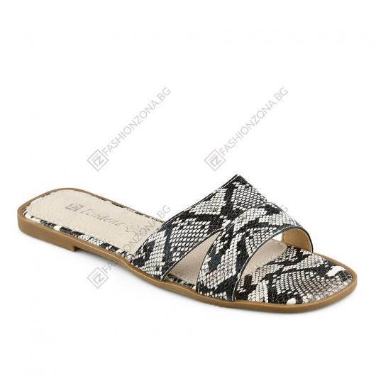 Черно-бели дамски ежедневни чехли Camilla