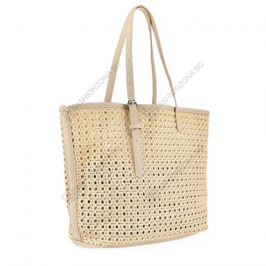 Бежова дамска ежедневна чанта Irene