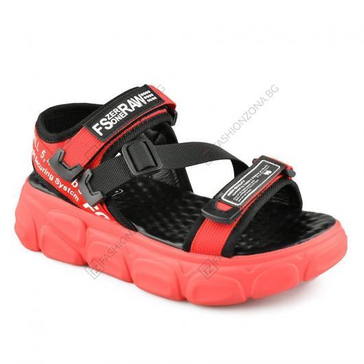 Червени дамски ежедневни сандали Valencia