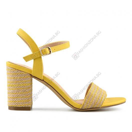 Жълти дамски елегантни сандали Lusila