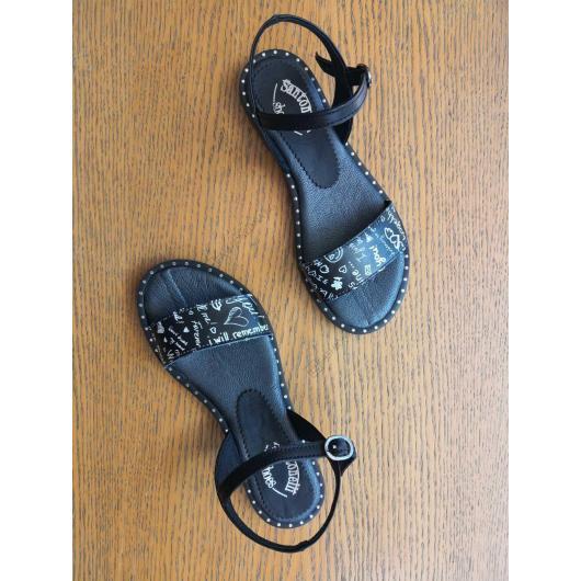 Черни дамски ежедневни сандали Hurricane