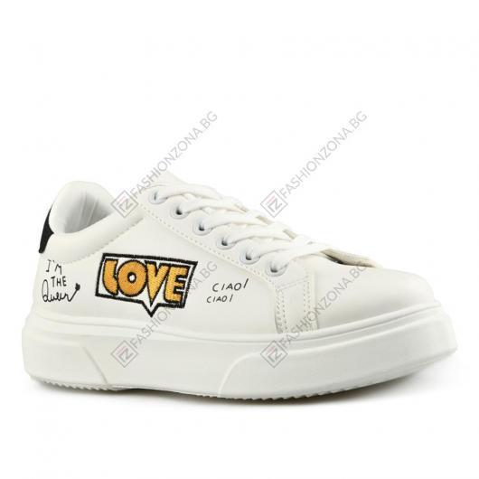 Бели дамски ежедневни обувки Alba