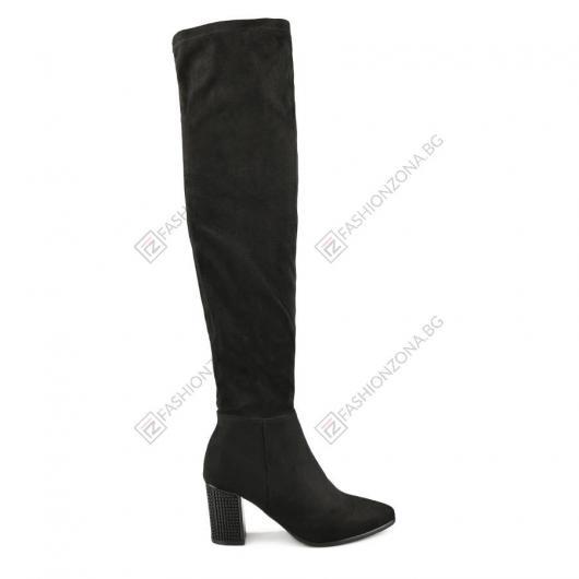 Черни дамски елегантни ботуши Loredana