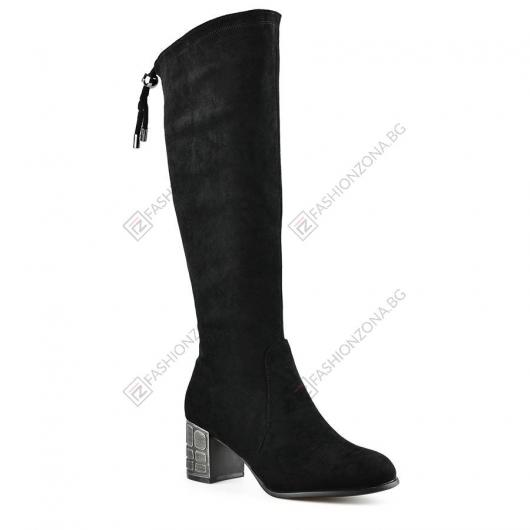 Черни дамски елегантни ботуши Nuri