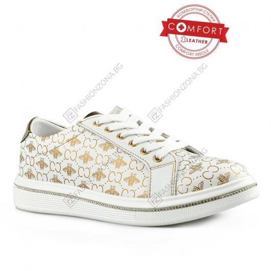 Бели дамски ежедневни обувки Ilona