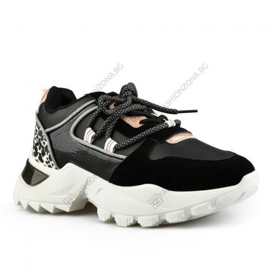 Черни дамски ежедневни обувки Leandra