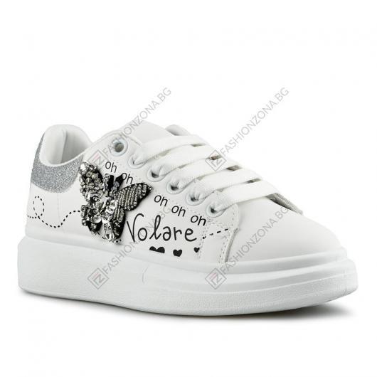 Бели дамски ежедневни обувки Nika