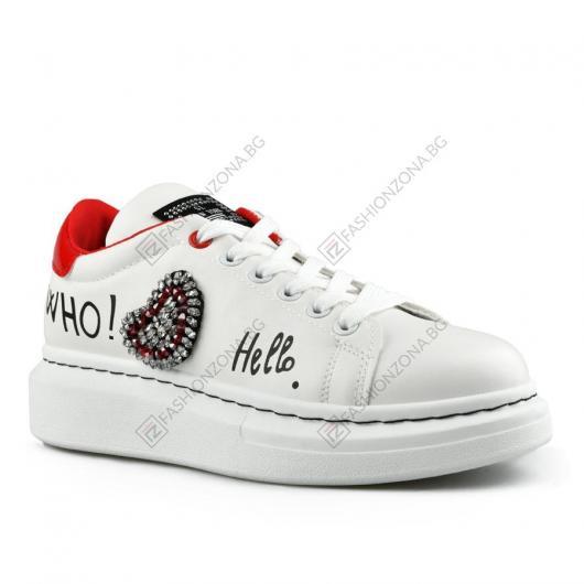 Бели дамски ежедневни обувки Nura