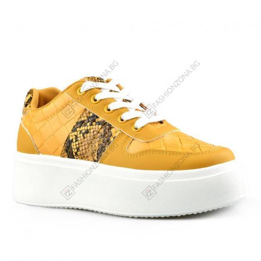 Жълти дамски ежедневни обувки Sine