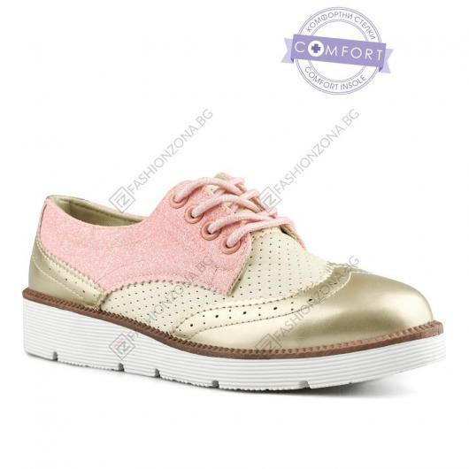 Златисти дамски ежедневни обувки Karola