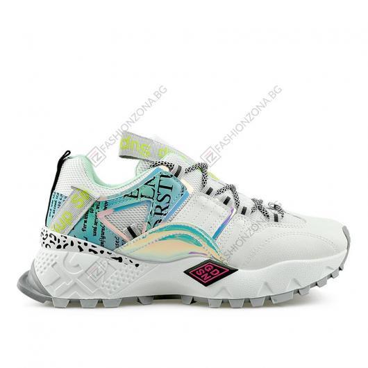 Бели дамски ежедневни обувки Bergljot