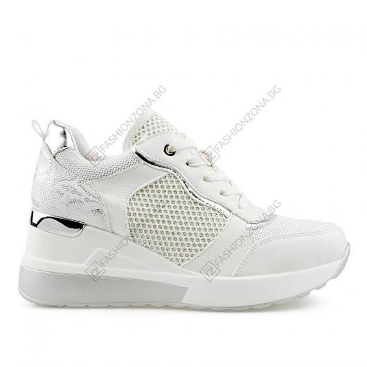 Бели дамски ежедневни обувки Ngoc