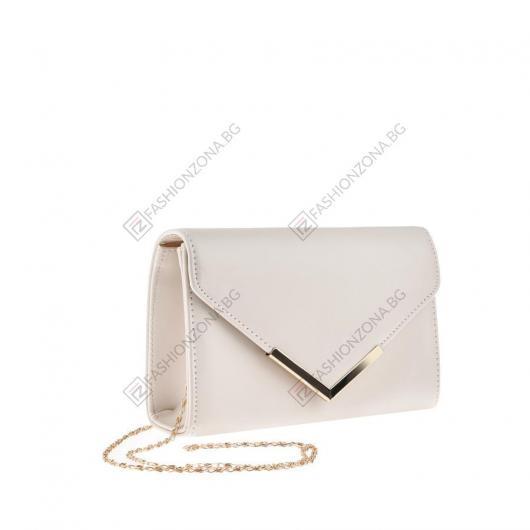 Бежова дамска елегантна чанта Krysia