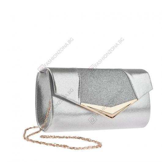 Сребриста дамска елегантна чанта Jirina