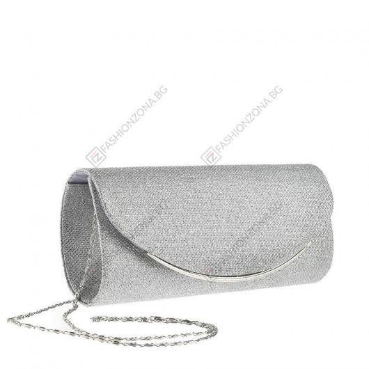 Сребриста дамска елегантна чанта Margareta