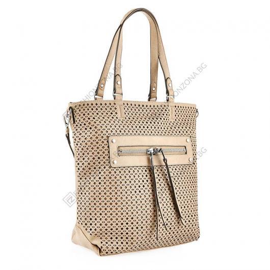 Бежова дамска ежедневна чанта Lida