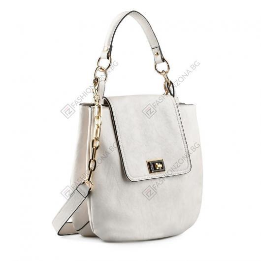 Бяла дамска ежедневна чанта Gizella